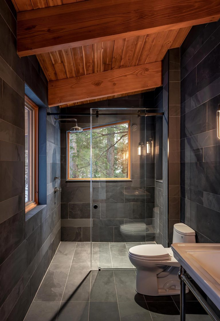 Modern Muskoka Cottage Bathroom Design Timber Slate